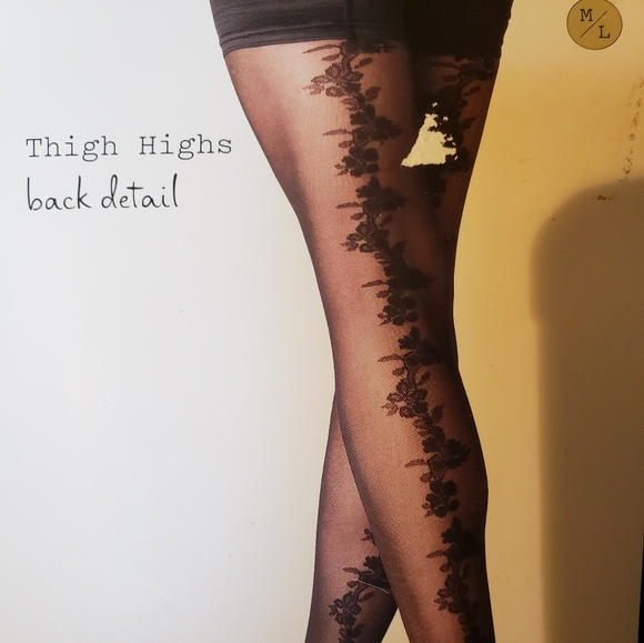 a new day Accessories - NWT Black Thigh Highs with Back Detail